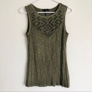 Olive Green Tank with Cut Out Details XS NWT